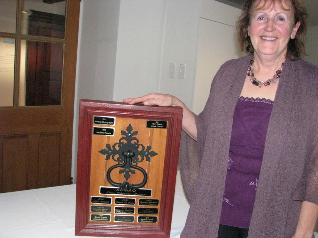 Micheline Frenette, lauréate du prix Thérèse-Romer. Crédit photo : Chantal Beauregard.