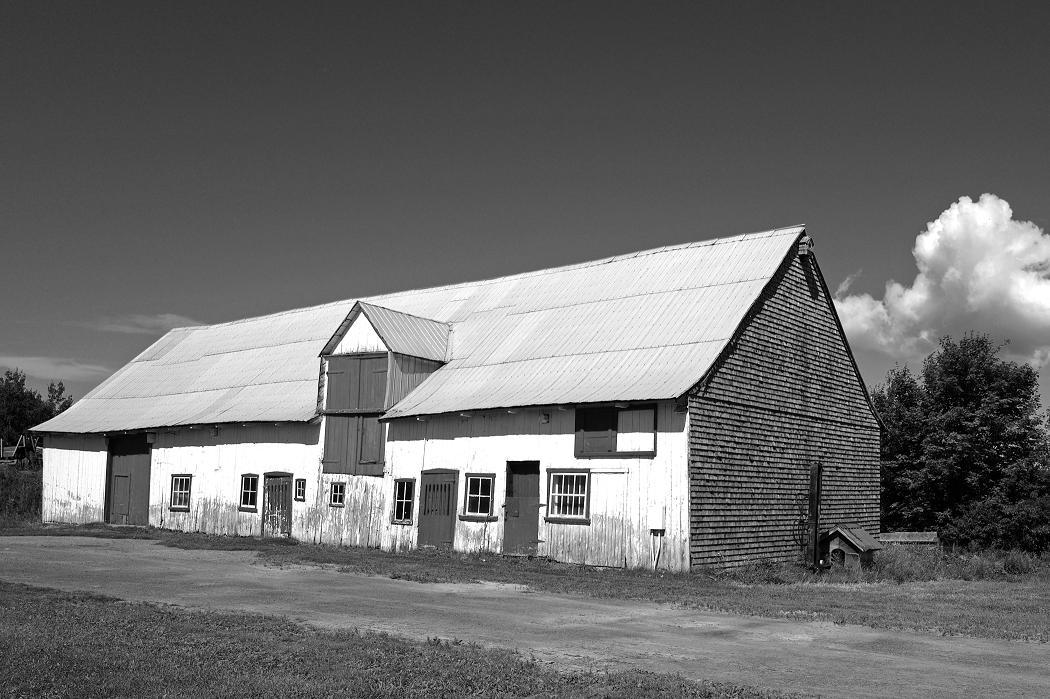 Grange-étable rectangulaire transformée plus tard en porcherie pour répondre aux spécificités de production pour le marché (19e).
