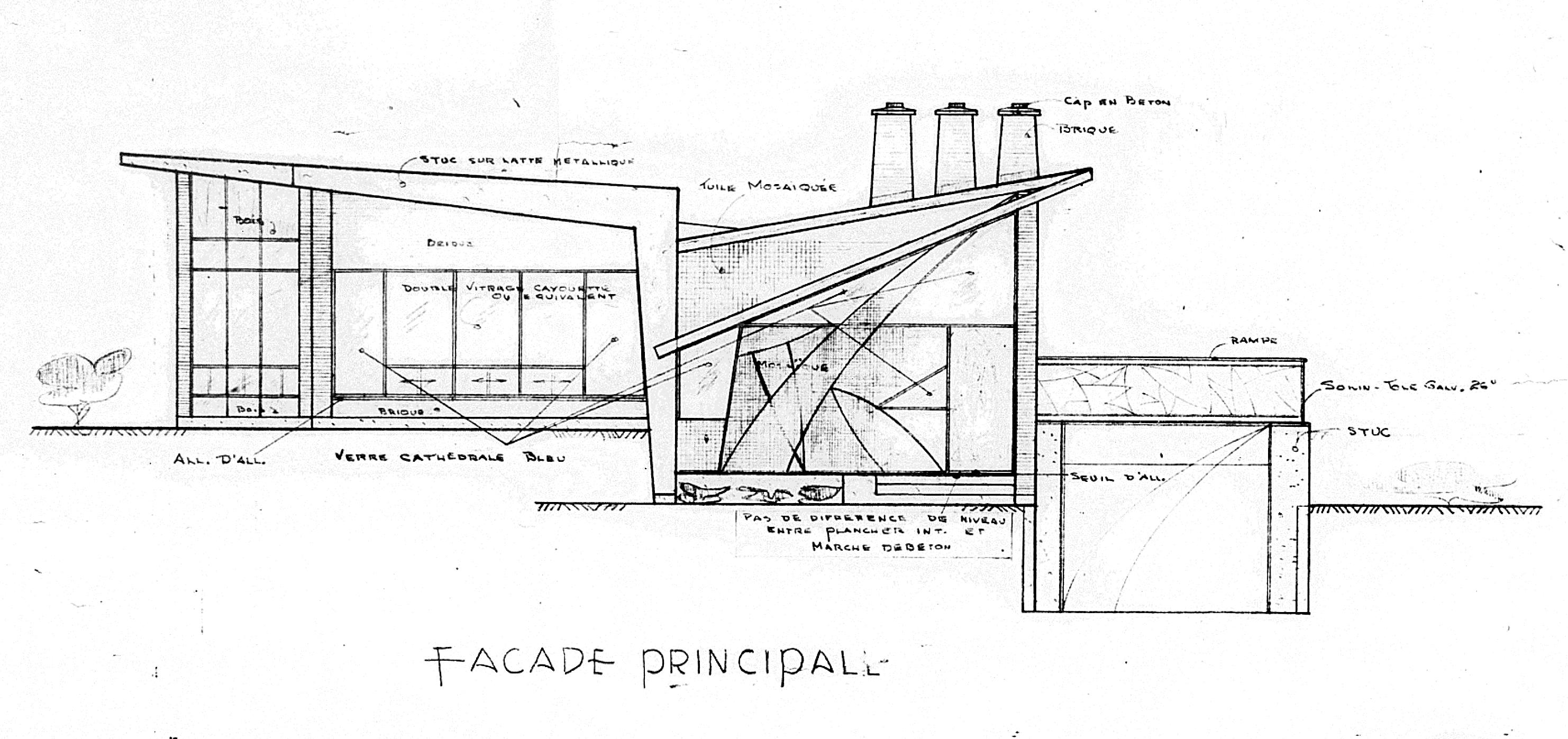 Plans dessinés par J. Bernier pour Monsieur A. Panneton, janvier 1960.