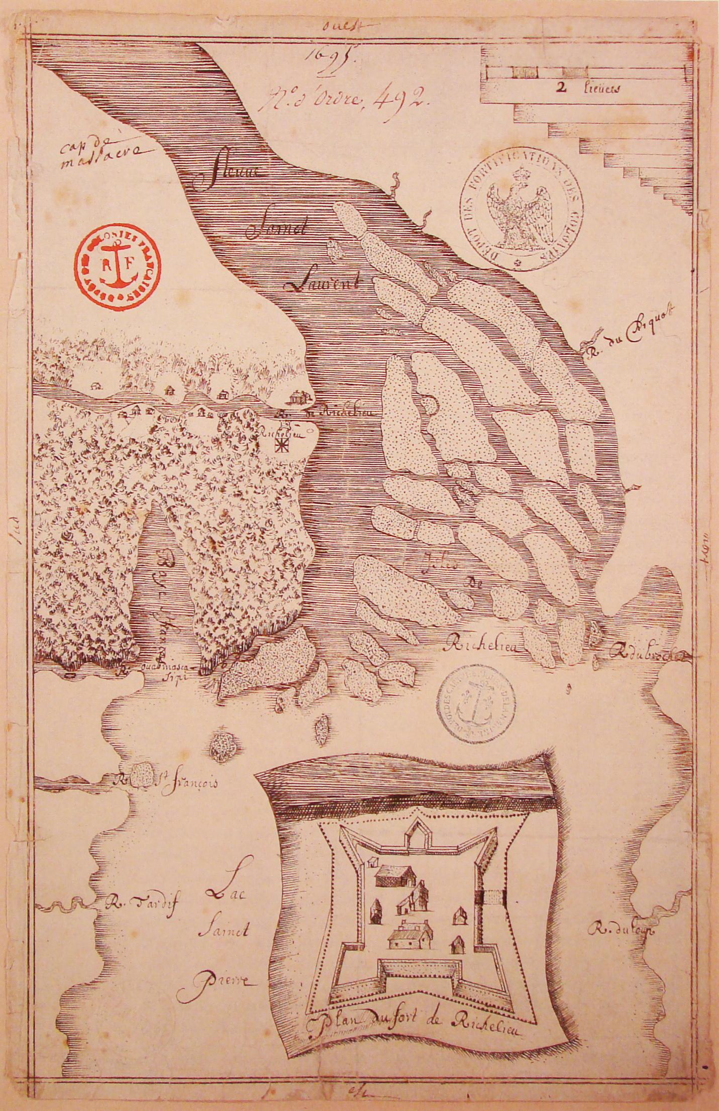 Crédit photo : Plan du Fort Richelieu (et environs). 1665. Archives Nationales d'Outre-Mer.