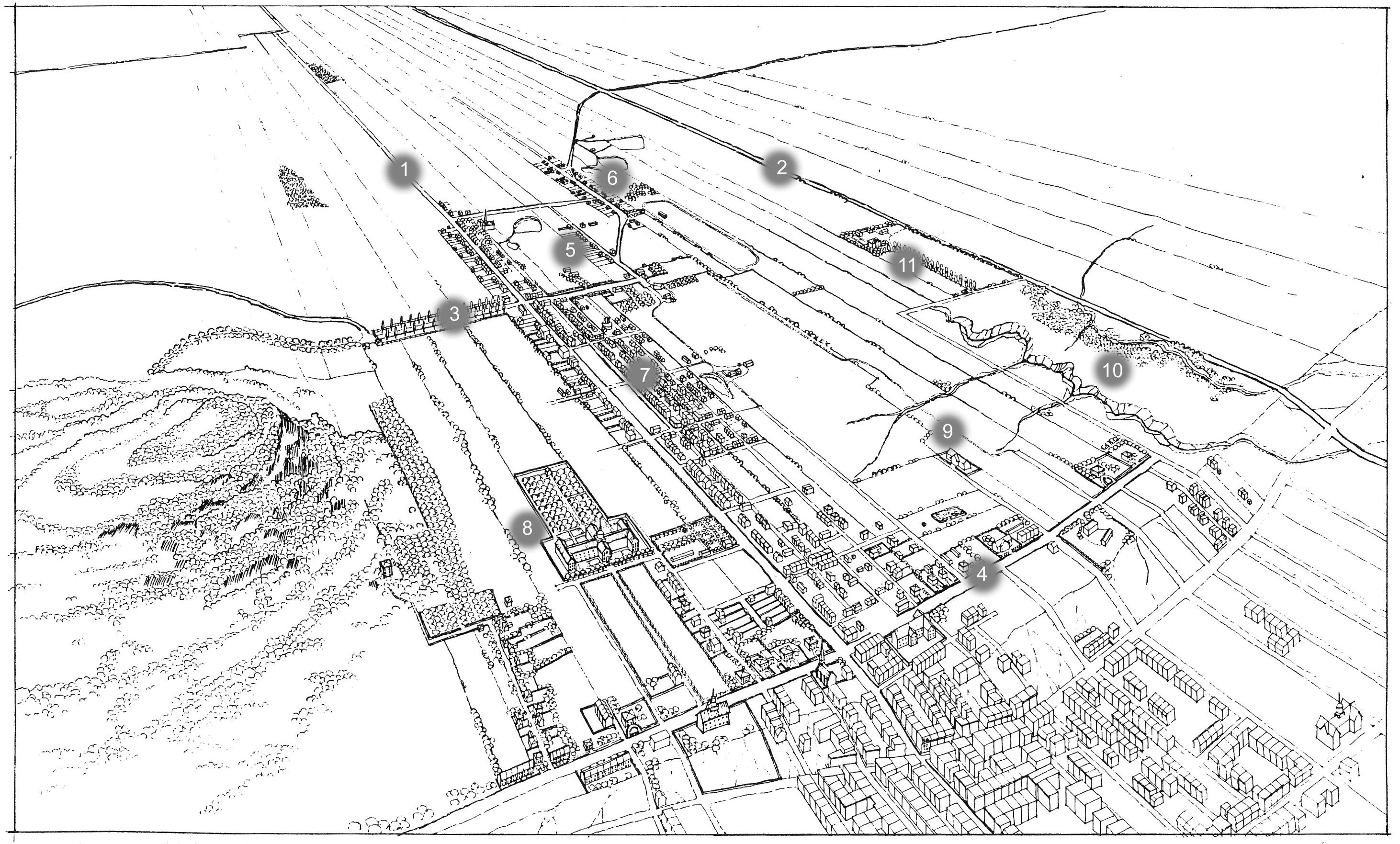 Le territoire du Plateau-Mont-Royal vers 1870. Cette illustration de Simon Péloquin est tirée du mémoire « Figures de l'espace » sous la direction d'Alan Knight, UdeM 1988.