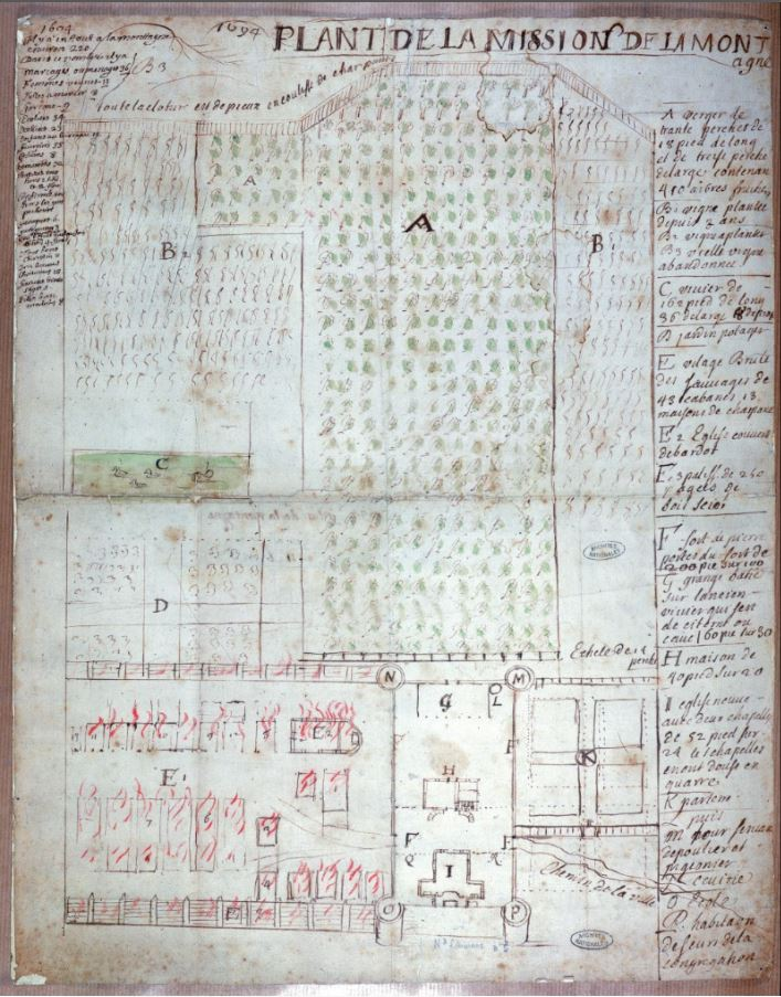Plant de la Mission de La Montagne. Source : Archives nationales de France. Plan 5280. N II. Canada 2.